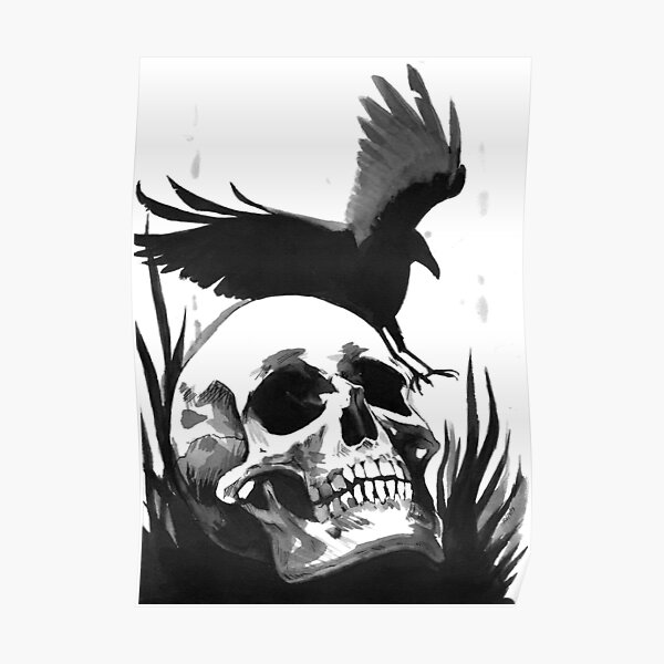 Inkwash Skull and Crow Poster