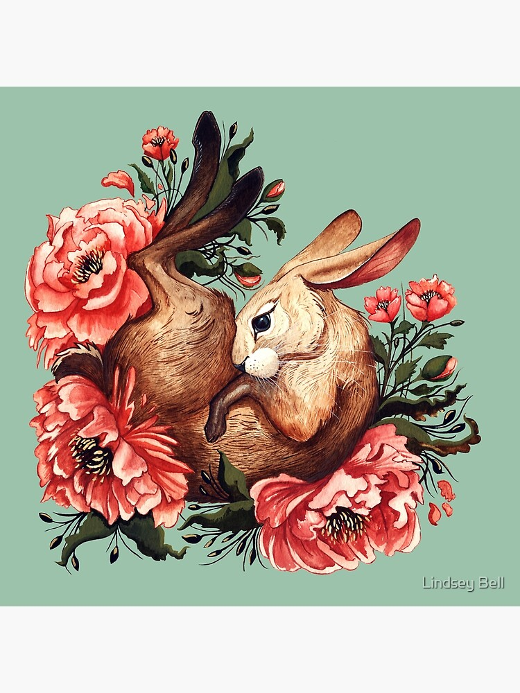 Rabbit and Flowers in Green by LindseyBellArt