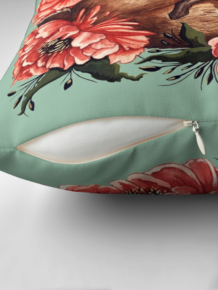 Alternate view of Rabbit and Flowers in Green Throw Pillow