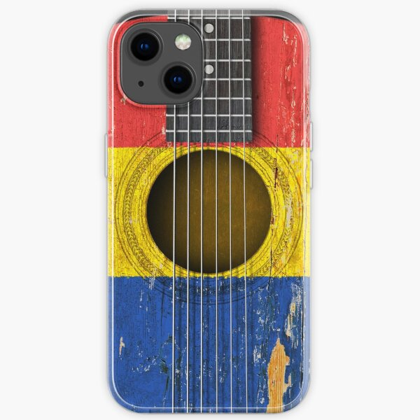 Old Vintage Acoustic Guitar with Romanian Flag iPhone Soft Case
