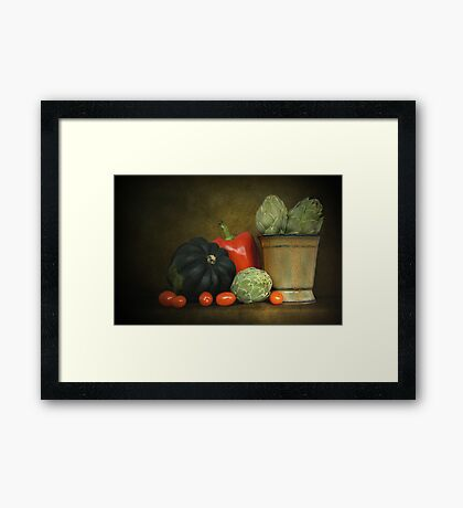 Artichokes And Pottery Framed Print