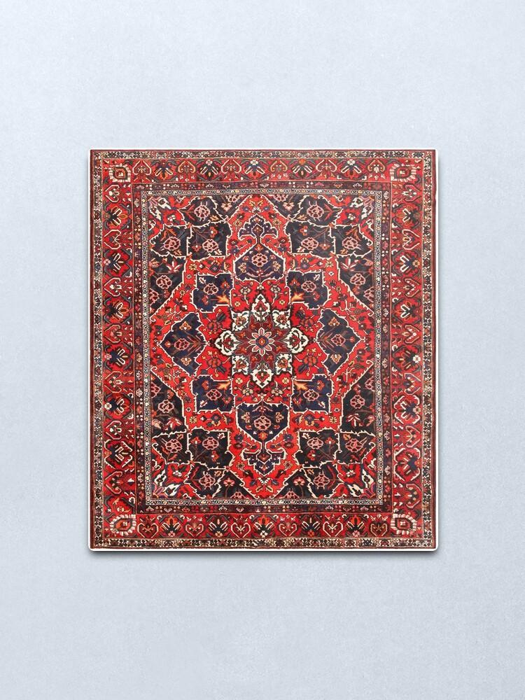 Alternate view of Tufted carpet / loop pile / Bakhtiari Rug | Antique Persian Bakhtiari Carpet wool  Metal Print