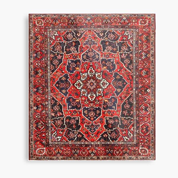 Tufted carpet / loop pile / Bakhtiari Rug   Antique Persian Bakhtiari Carpet wool  Metal Print