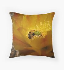 Prikley Pear Blossum and a Bee Throw Pillow