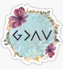 God is greater than the highs and lows - Floral Christian Quote Sticker