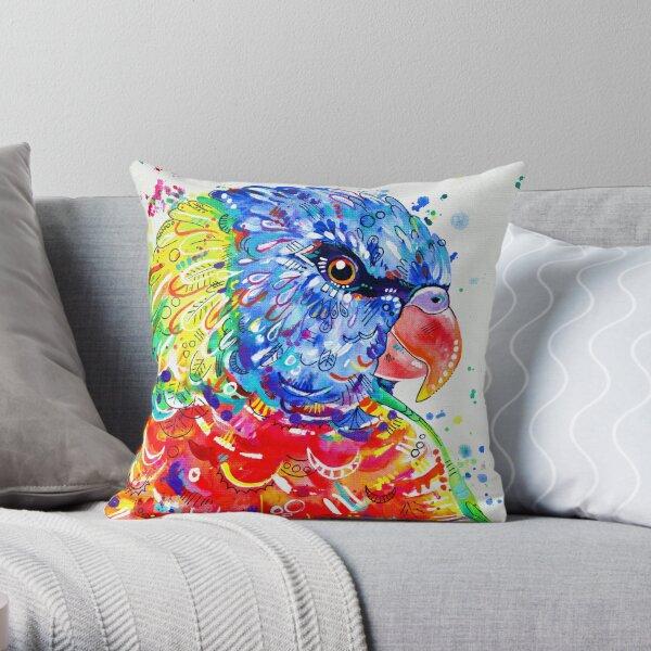 Rainbow Lorikeet Painting Throw Pillow