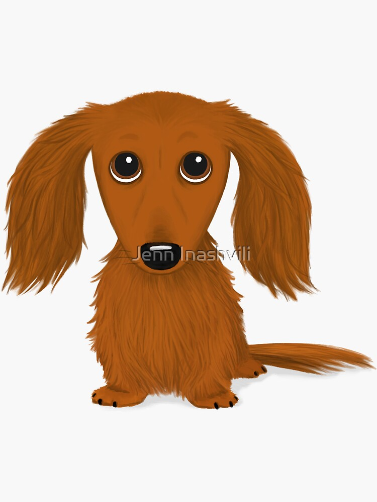 Longhaired Red Dachshund Cartoon Wiener Dog by ShortCoffee