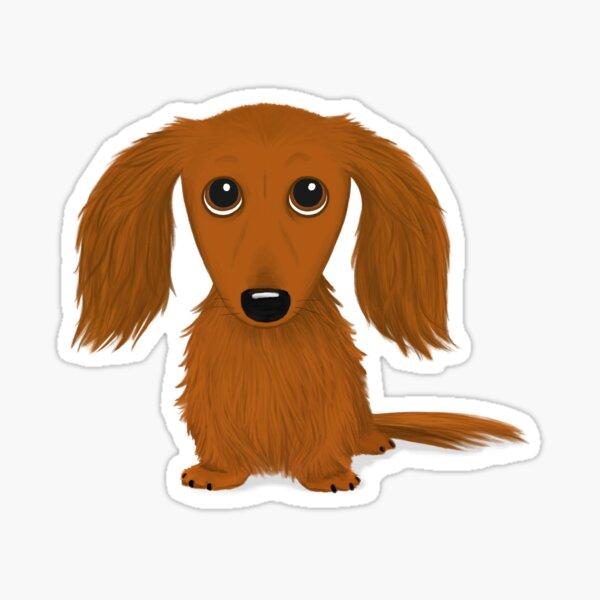 Longhaired Red Dachshund Cartoon Wiener Dog Sticker