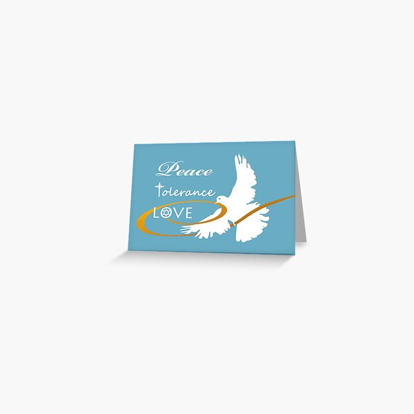 Peace, Tolerance, Love, Dove with Ribbon Greeting Card