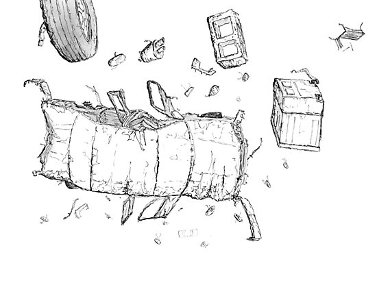 Destroyed Falling Car Illustration Photographic Prints By Tomduggan