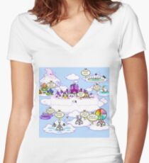 Neopets Old Faerieland Map Women's Fitted V-Neck T-Shirt