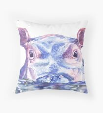 Happy Hippo Watercolor Painting Throw Pillow