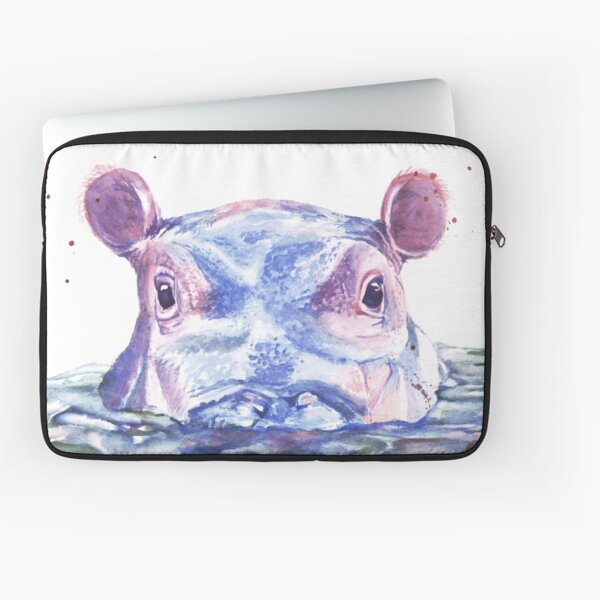 Happy Hippo Watercolor Painting Laptop Sleeve
