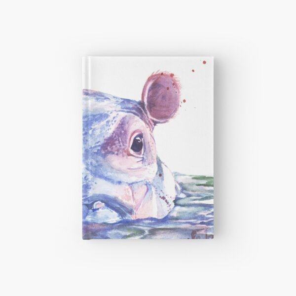 Happy Hippo Watercolor Painting Hardcover Journal