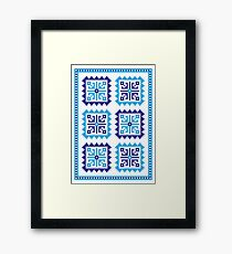 Traditional Folk Pattern - Blue Framed Print