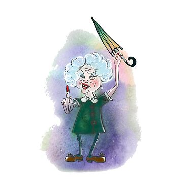 Furious old lady with umbrella by TrishaMcmillan