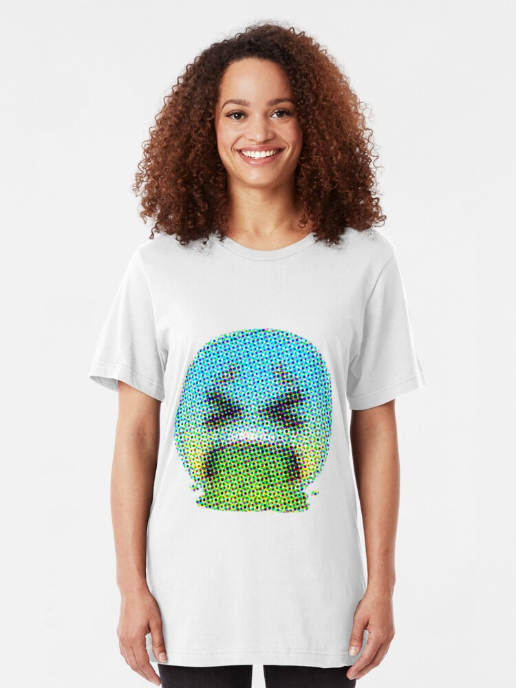 WOMEN/'S WHITE T-SHIRT WITH SICK VOMITING EMOJI DESIGN