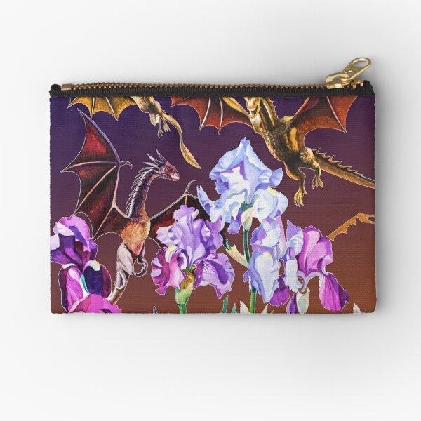 """Dragons in Irises"" Zipper Pouch"