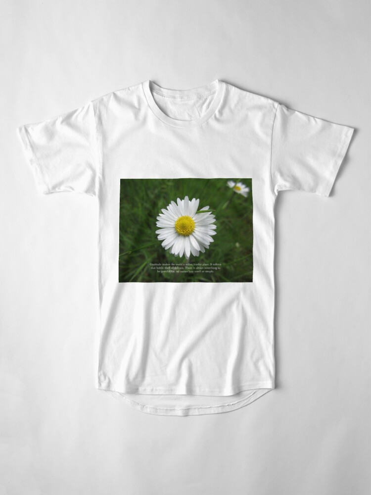 Alternate view of Inspirational Words of Gratitude with Daisy Long T-Shirt