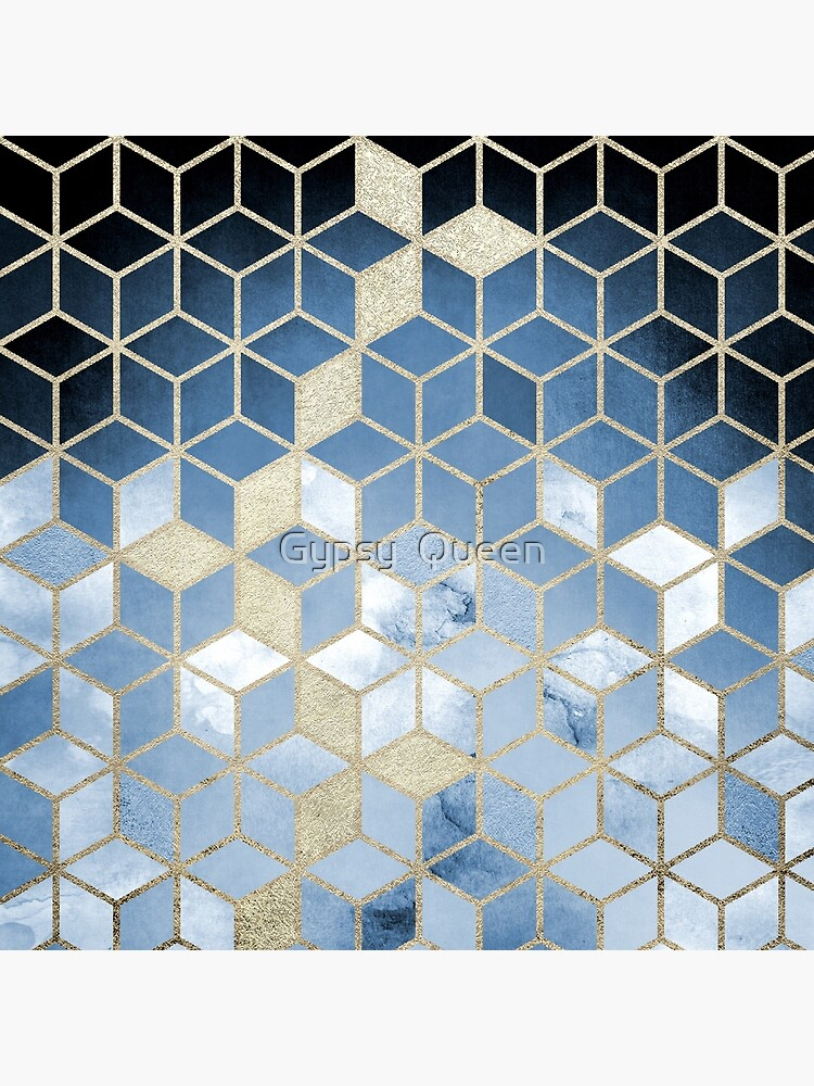 Shades Of  Blue Cubes Pattern by nomadartstudio