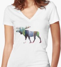 Moose  Women's Fitted V-Neck T-Shirt
