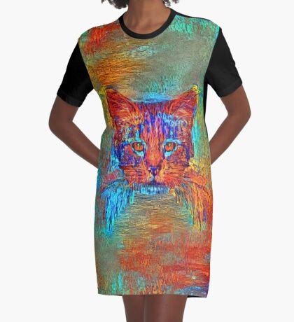 Ninja cat hiding in Modern #Art Graphic T-Shirt Dress