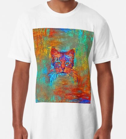 Ninja cat hiding in Modern #Art Long T-Shirt