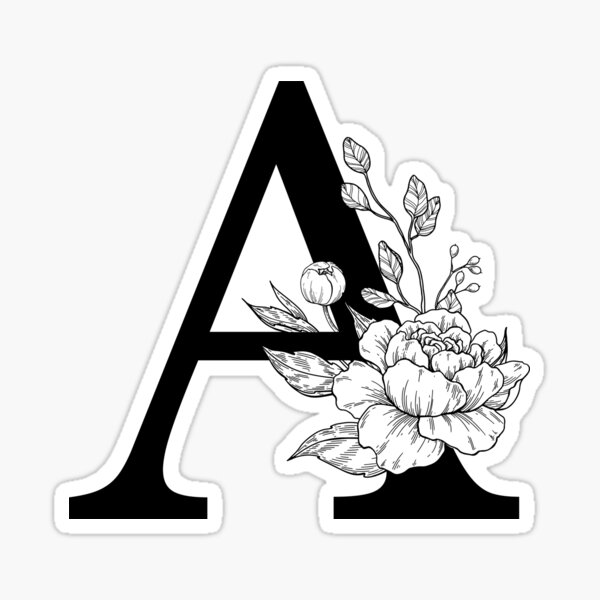 A Botanical Monogram. Detailed Peony Drawing Sticker