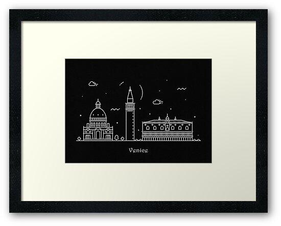 Venice Skyline Minimal Line Art Poster by geekmywall