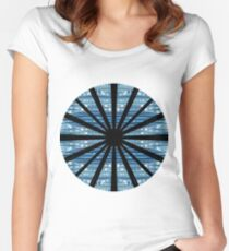 Blue wave, chaotic structures, elongating horizontally, structure, pattern Women's Fitted Scoop T-Shirt