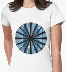 Blue wave, chaotic structures, elongating horizontally, structure, pattern Women's Fitted T-Shirt