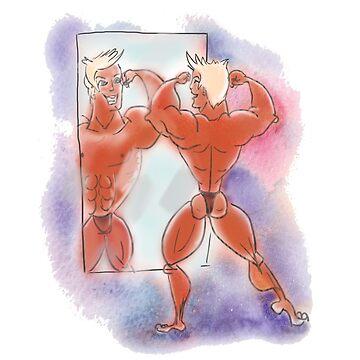 Bodybuilder. Hand drawn illustration, watercolor texture. by TrishaMcmillan