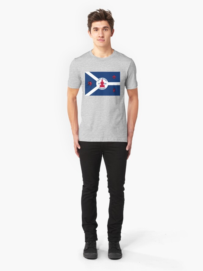 Alternate view of Flag of Fort Wayne, Indiana Slim Fit T-Shirt