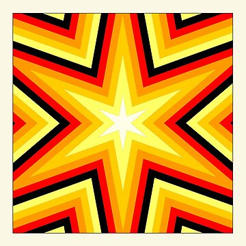 Bright geometric star – Red, black, yellow, orange by philipinct
