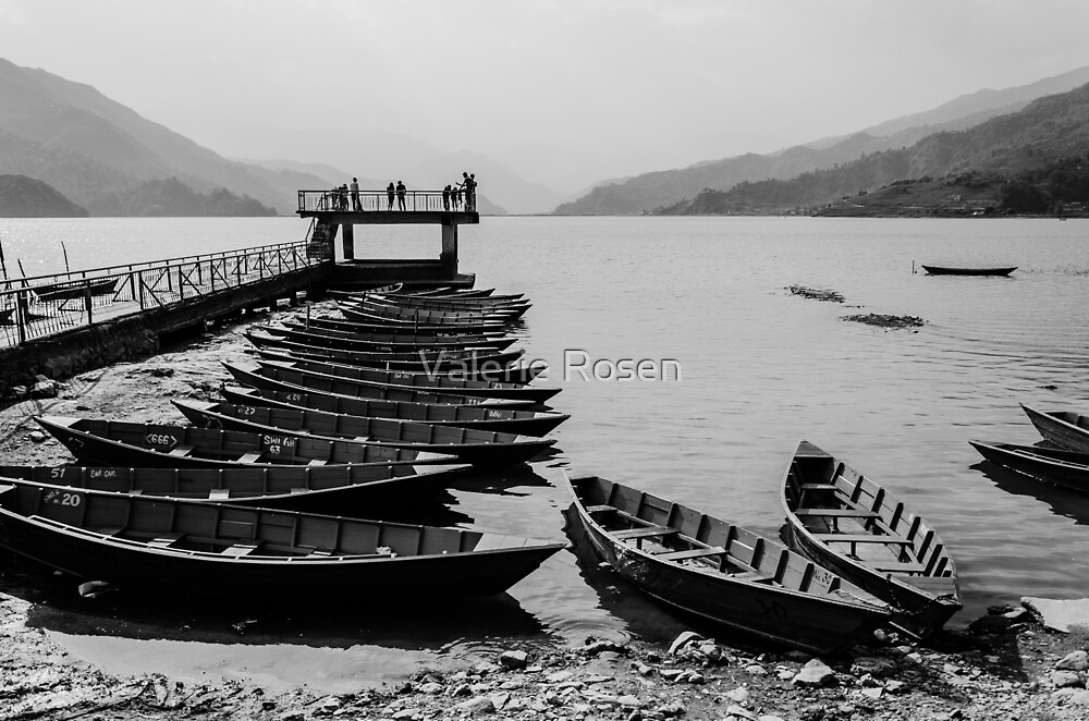 Rowboats on Phewa Lake by Valerie Rosen