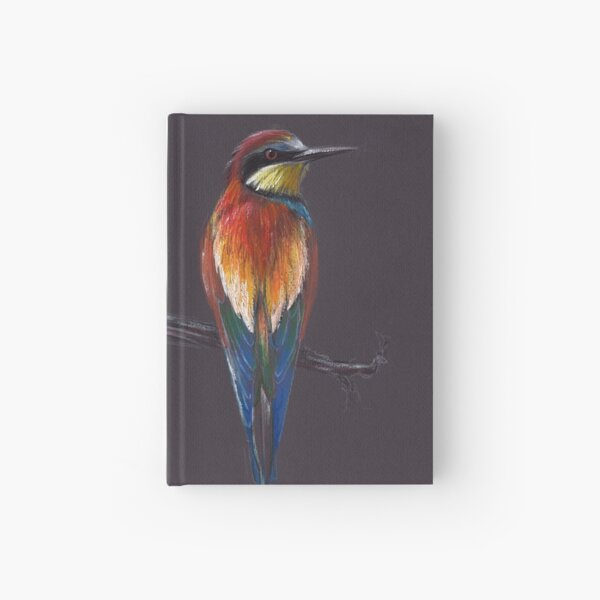 """The European""  original mixed media painting of a European Bee-eater bird Hardcover Journal"