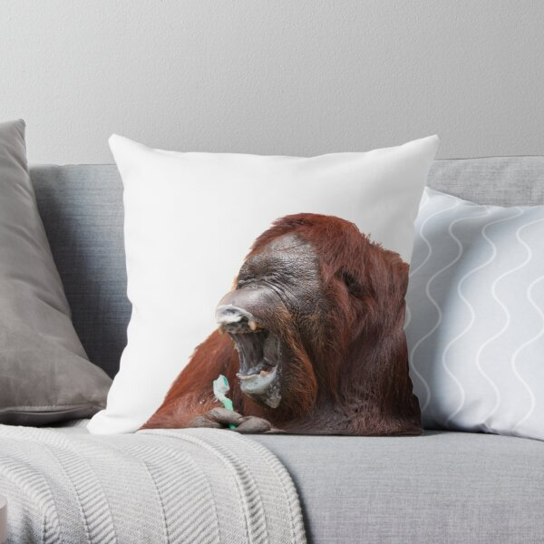 Orangutan Oral Hygiene 01 Throw Pillow