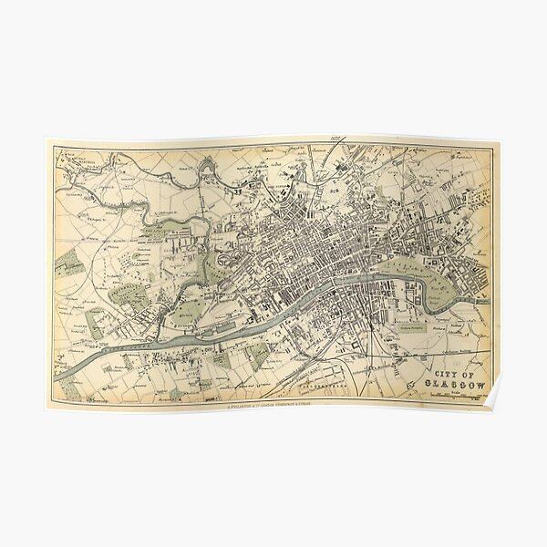 Vintage Map of Glasgow Scotland (1872) Poster