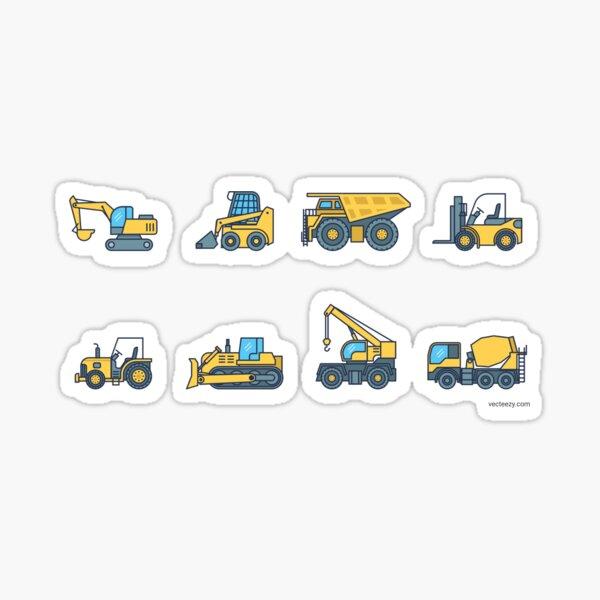 Heavy construction machines, excavators, concrete mixers, dump trucks, forklifts, excavators Sticker