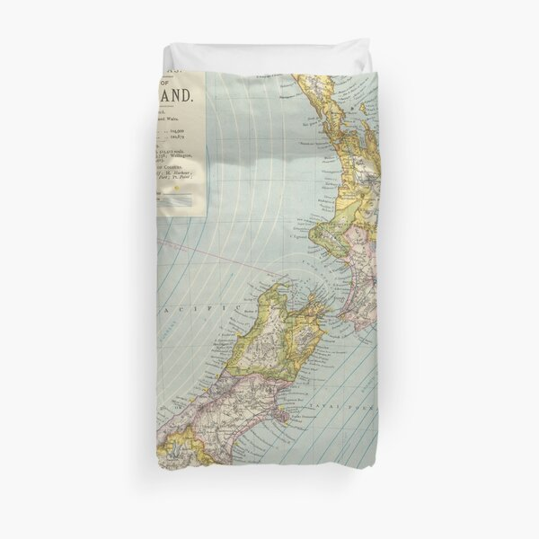 Vintage Map of New Zealand (1883) Duvet Cover