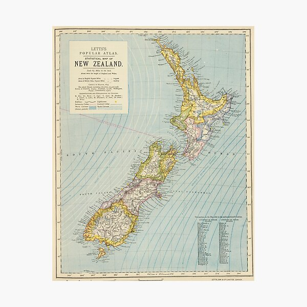 Vintage Map of New Zealand (1883) Photographic Print