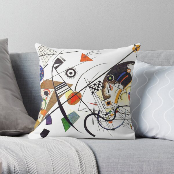 """HD """"Transverse Lines"""" (1923) by Wassily Kandinsky Throw Pillow"""