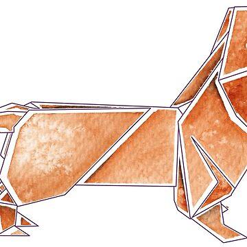 Origami Dachshund: Red by Dwuff