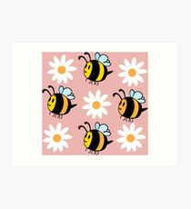 Chubby Bees With Daisies  Art Print