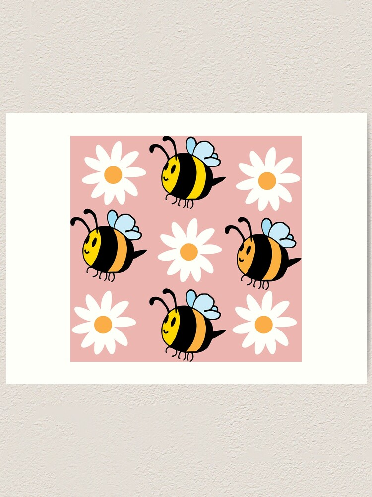 Alternate view of Chubby Bees With Daisies  Art Print