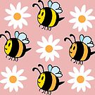Chubby Bees With Daisies  by GroglioArt