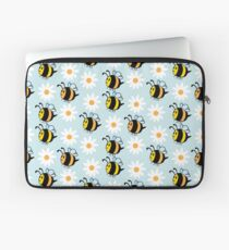 Chubby Bees With Daisies  Laptop Sleeve