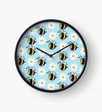 Chubby Bees With Daisies  Clock