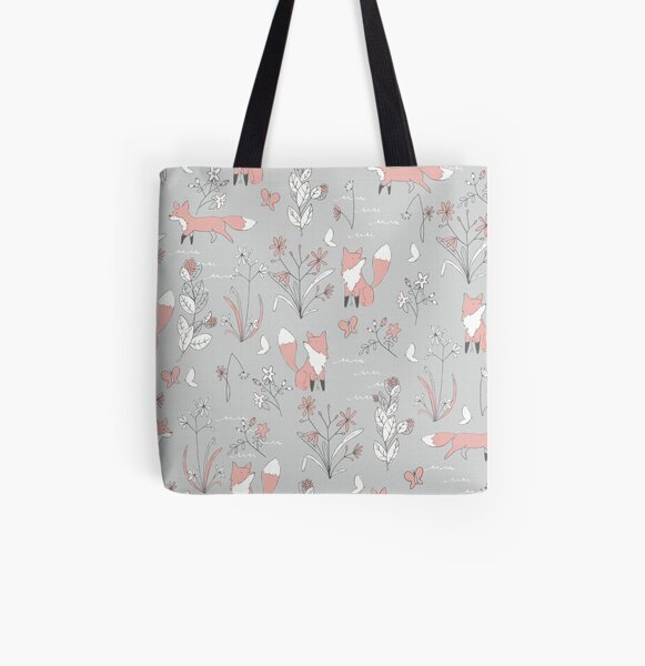 Fox and Flora All Over Print Tote Bag