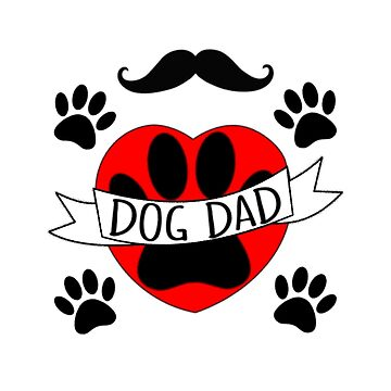 Dog Dad Paw And Red Heart Drawing  by Almdrs